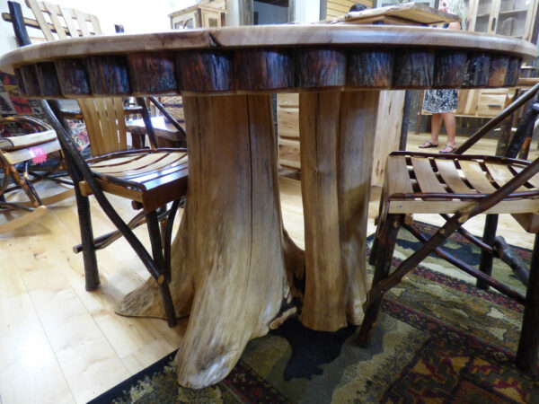 Hickory Round Kitchen Table in showroom
