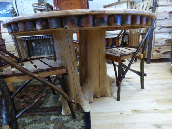 Hickory Round Kitchen Table - side view