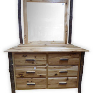 Hickory 6 Drawer Dresser with Mirror