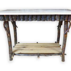 Hickory Half Log Sofa Table