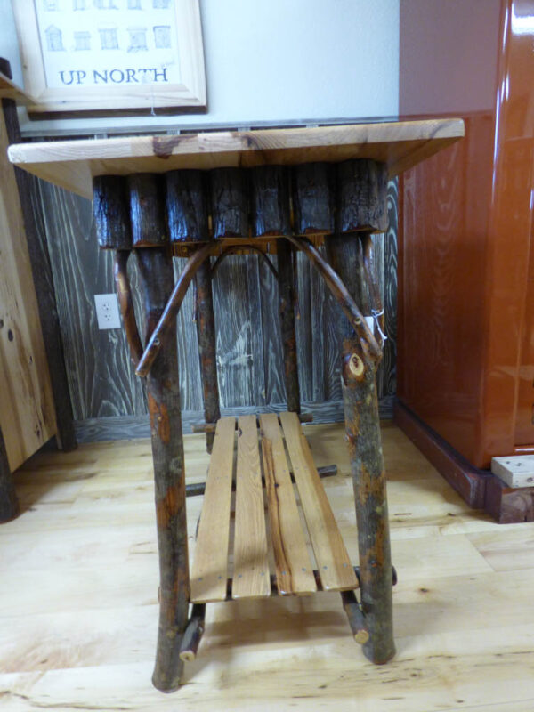Hickory Half Log Sofa Table - Side View