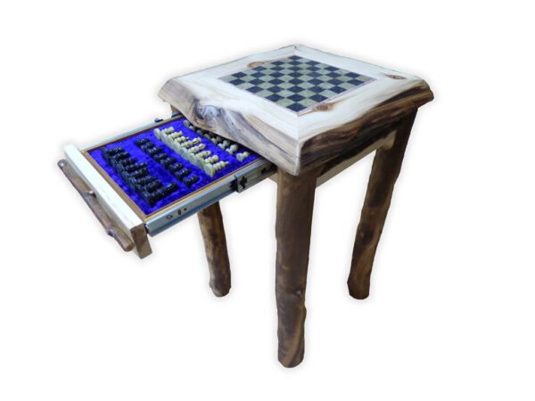 Handmade Chess Table with drawer open