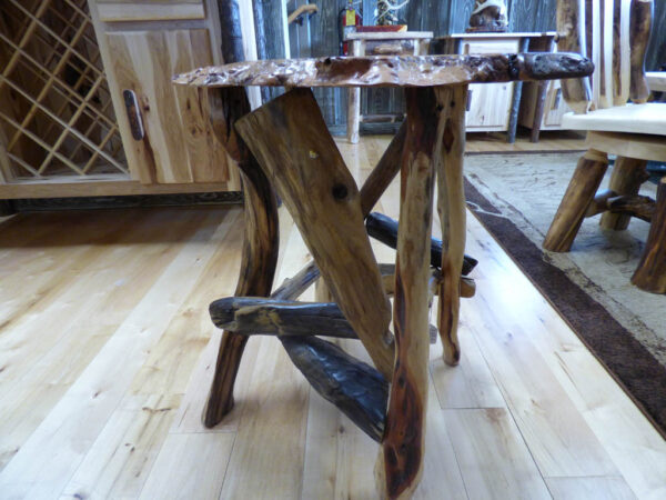 Burl Top Side Table with Root Base in showroom