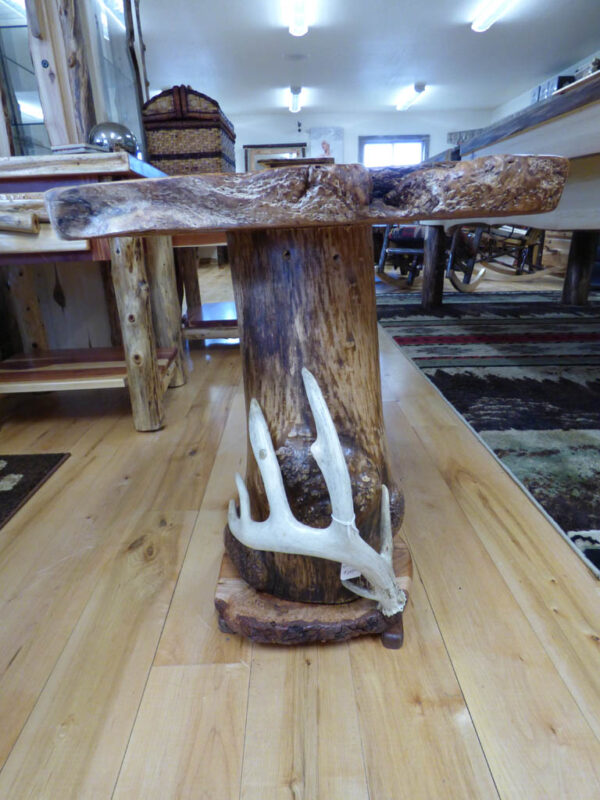 Maple Side Table with Antler in showroom