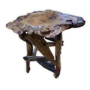 Burl Top Side Table with Root Base