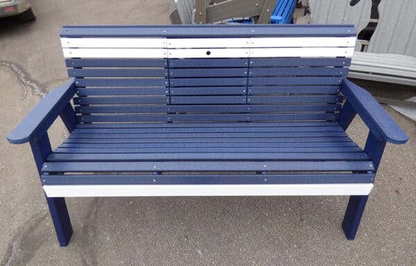 5ft Bench with Table - Exterior in Blue